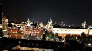 Blick auf den Kreml von der Dachterasse des Hotels